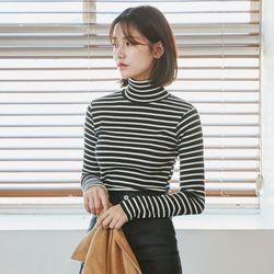 [로코식스] all day stripe high neck t-shirts티셔츠