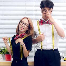 스쿨룩 3종세트 (안경 리본 멜빵)