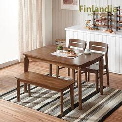 버베나 4인 원목식탁세트(의자2벤치1)