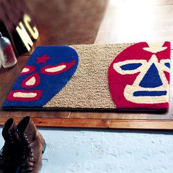 [무료배송] 유니크한 마스크 무늬 황마 현관매트 (40cmx65cm)