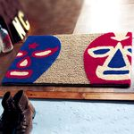 유니크한 마스크 무늬 황마 현관매트 (40cmx65cm)