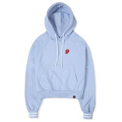 TRS CLASSIC TONGUE CROP HOODIE BLUE