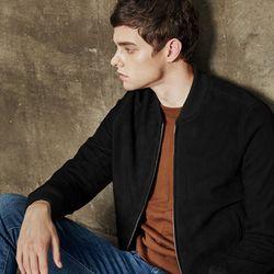 Suede Blouson jacket (Black)