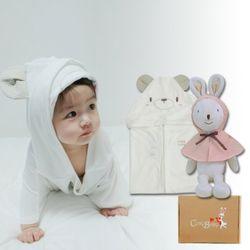 [무료배송/선물박스증정] 천연밤부오가닉바스가운겸타월세트(곰+토끼인형)