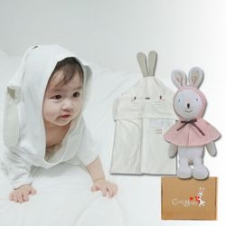 [무료배송/선물박스증정] 천연밤부오가닉바스가운겸타월세트(토끼+토끼인형)