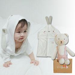 [무료배송/선물박스증정] 천연밤부오가닉바스가운겸타월세트(토끼+곰인형)