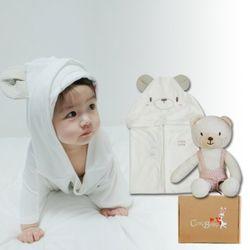 [무료배송/선물박스증정] 천연밤부오가닉바스가운겸타월세트(곰+꼬마곰인형)