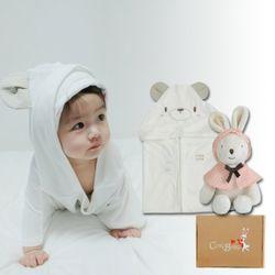 [무료배송/선물박스증정] 천연밤부오가닉바스가운겸타월세트(곰+꼬마토끼인형)