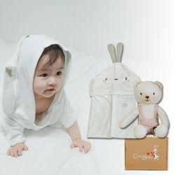[무료배송/선물박스증정] 천연밤부오가닉바스가운겸타월세트(토끼+꼬마곰)