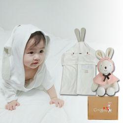 [무료배송/선물박스증정] 천연밤부오가닉바스가운겸타월세트(토끼+꼬마토끼)