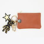 골드 스트라이프 card & coin wallet (brown)