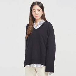 hello weave drop v-neck knit