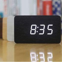 LED 무소음 심플 우드 탁상 알람 시계 (중)