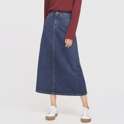 behind long slit denim skirt