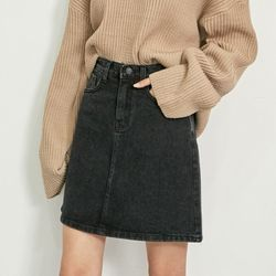 [로코식스] black denim skirt스커트
