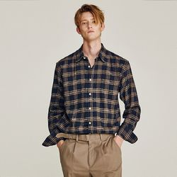 OVERALL CHECK OVERFIT SHIRTS (NAVY)