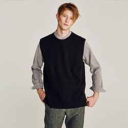 BASIC OVERFIT KNIT VEST (BLACK)