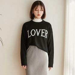 [로코식스] lover lettering knit니트