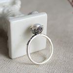 진주 마카사이트 꽃 반지pearl marcasite flower ring