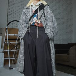 tailored middle check coat (2 color) - UNISEX