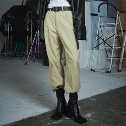 high waist cotton wide long pants (2 color)