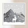 LP 메탈 액자 - 눈 내리는 산과 사슴