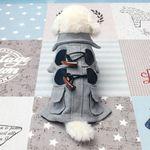 [펫딘]떡볶이 코트 버튼 강아지옷 아우터 그레이