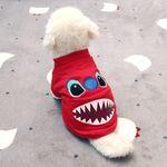 [펫딘]샤크 포켓 시보리 레드 강아지옷 티셔츠