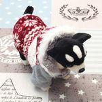 [펫딘]눈꽃 털후드 단계 버튼 강아지옷 아우터 레드