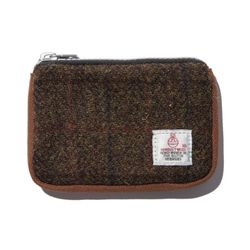HARRIS TWEED CARD ZIP WALLET - BROWN