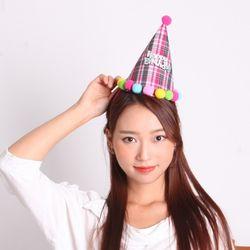 폼폼 생일 고깔모자 (핑크)