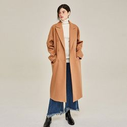 AWESOME WOOL DOUBLE LONG COAT (BEIGE)