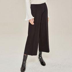 PINTUCK WIDE ANKLE PANTS (BLACK)
