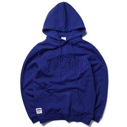 자니카슨 사틴 로고 기모후드 - BLUE