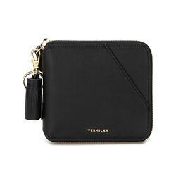 버밀란 라인 지퍼 지갑 - 블랙