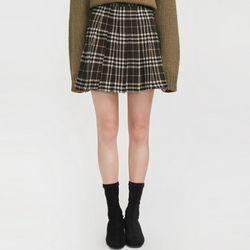 girlish check pleats skirt