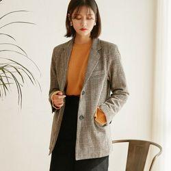 [로코식스] wool hound check jacket자켓