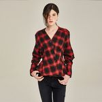 WRAPOVER CHECK BLOUSE (RED)
