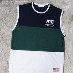 애나씨 남자나시티셔츠-빅사이즈쇼핑몰 NYC남자민소매