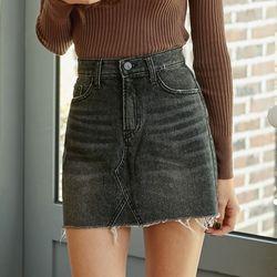 [로코식스] cutting denim mini skirt스커트