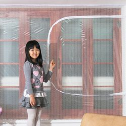 창문형지퍼식 방풍 바람막이 에어캡 뽁뽁이 180x150cm