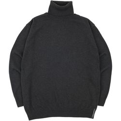 SOFT BASIC TURTLENECK KNIT CHARCOAL