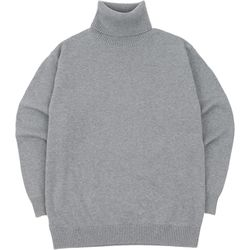 SOFT BASIC TURTLENECK KNIT GRAY