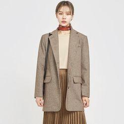 solt herringbone wool long jacket