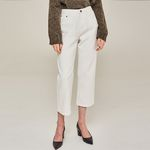 CROP WIDE WHITE DENIM PANTS (IVORY)