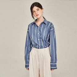 JUST OVERFIT STRIPE  SHIRTS (BLUE)