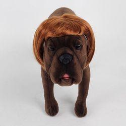 강아지 고양이 펫 가발 단발머리 (골드브라운)