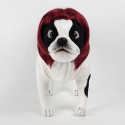 강아지 고양이 펫 가발 단발머리 (와인)