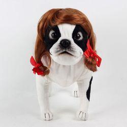 강아지 고양이 펫 가발 순정녀 (골드브라운)