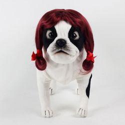 강아지 고양이 펫 가발 순정녀 (와인)